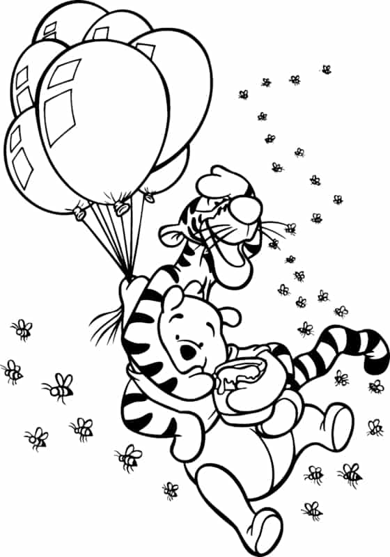 pooh with tiger and balloons