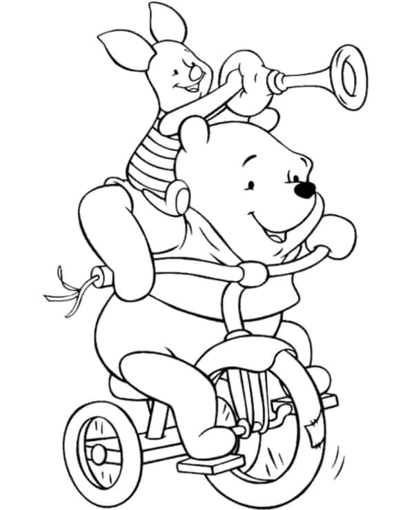 teddy pooh with piglet on the bike
