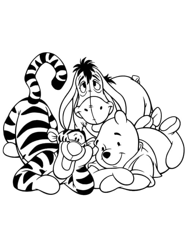 tiger yo and pooh coloring page