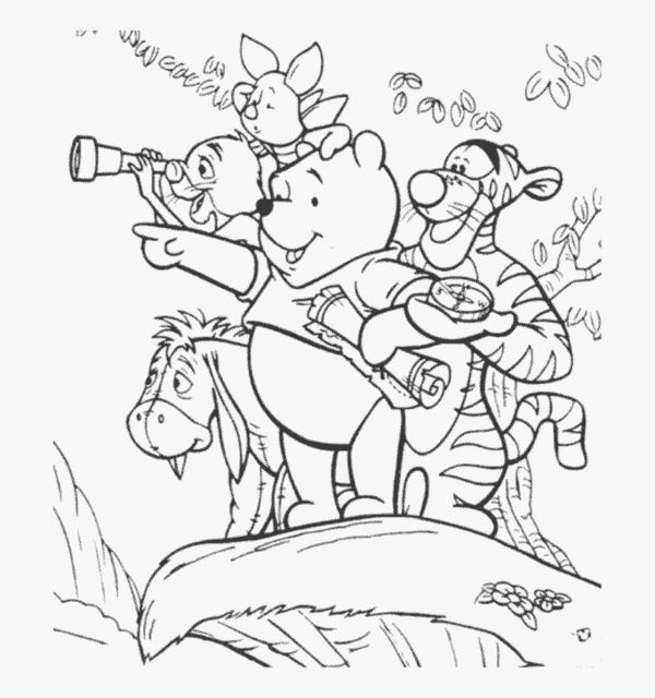 teddy pooh gang coloring page