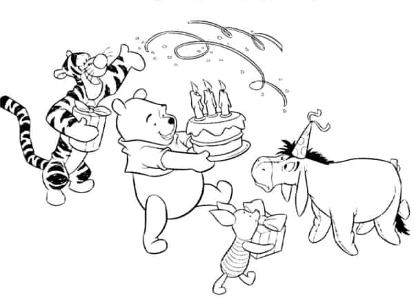 birthday pooh coloring page