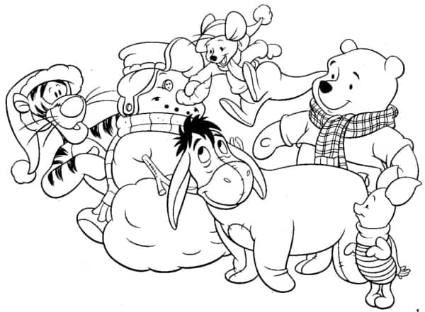teddy pooh gang in winter