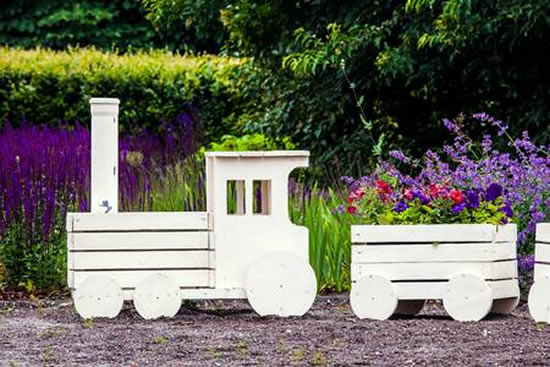 Train with wooden crates