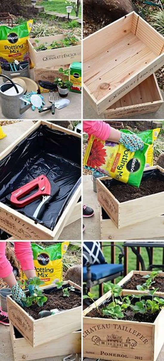 Beautiful decorations with garden crates