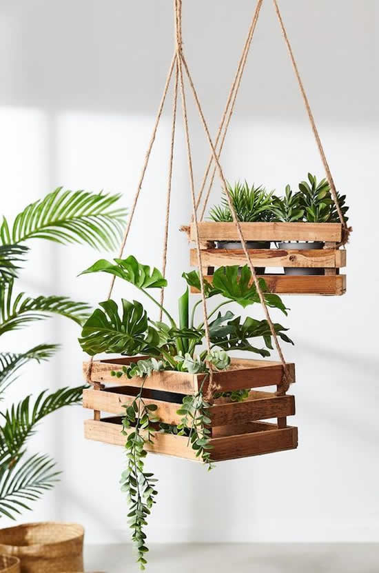 Decor with hanging wooden crates
