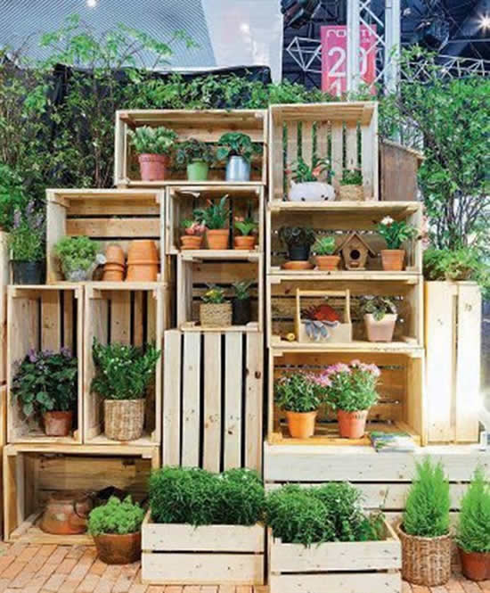 Decorated with crates in the garden