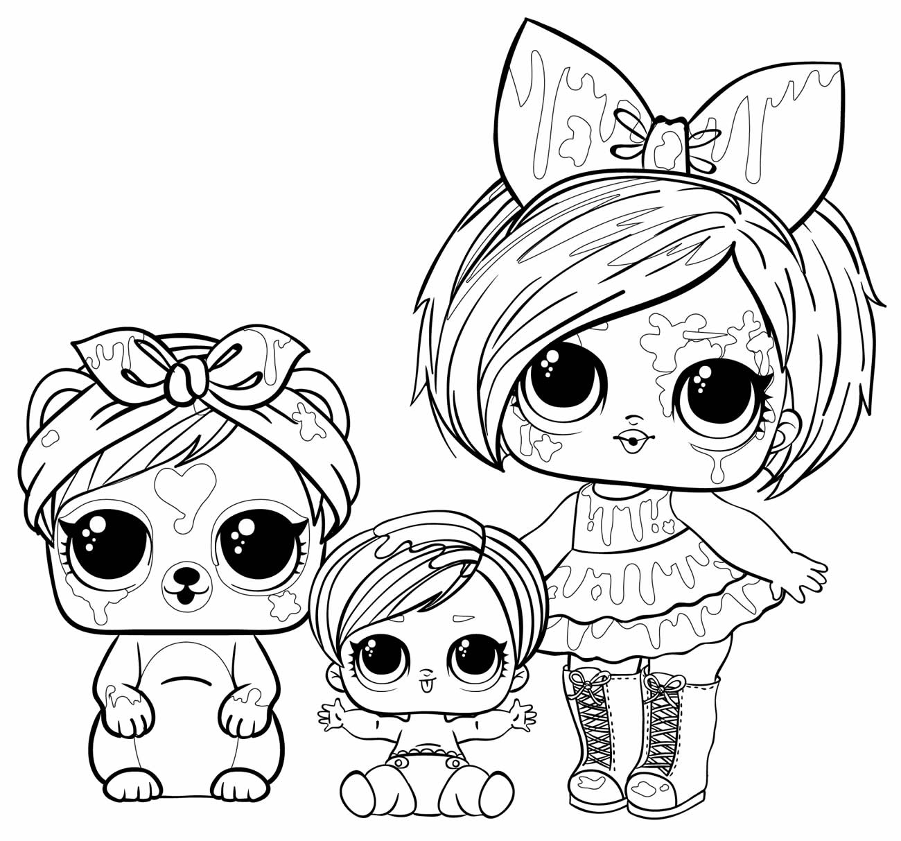 Drawing LOL dolls to paint
