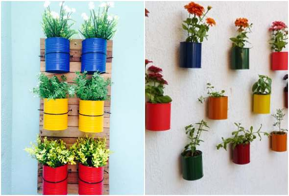 Hanging garden with cans