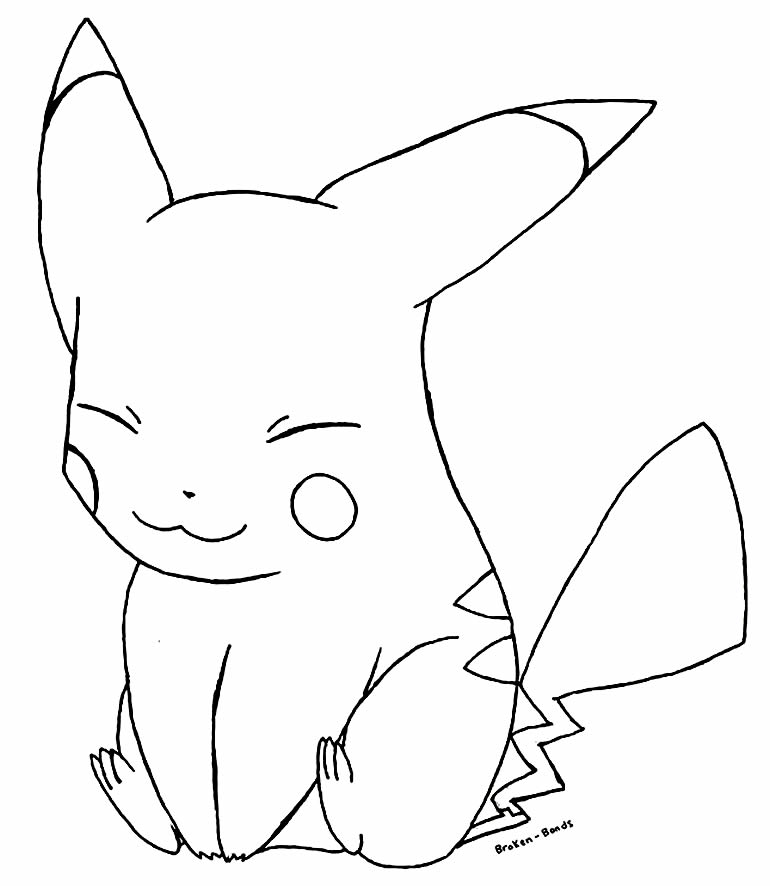 Pikachu's beautiful drawing to paint