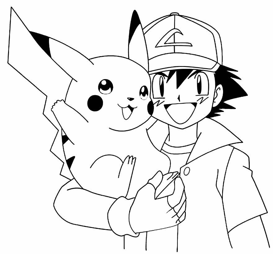 Pikachu and Ash to paint
