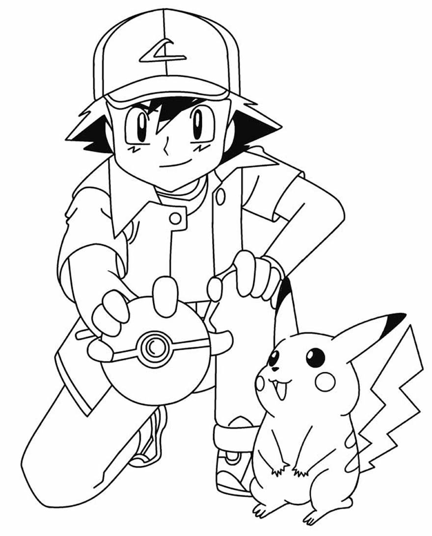 Pikachu and Ash coloring page