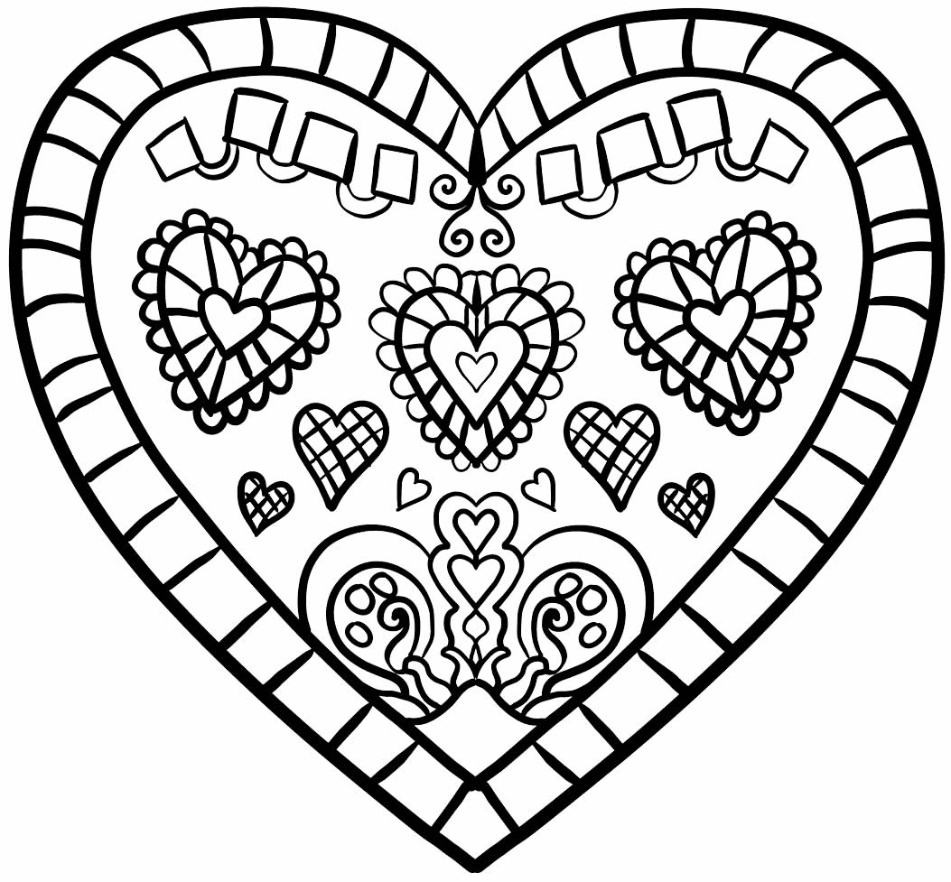 Coloring heart template