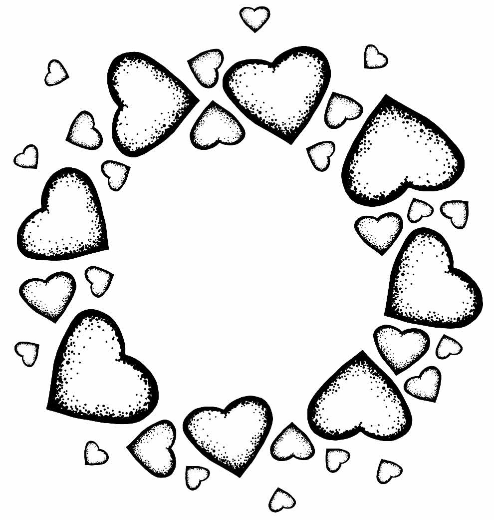 Image of hearts to color