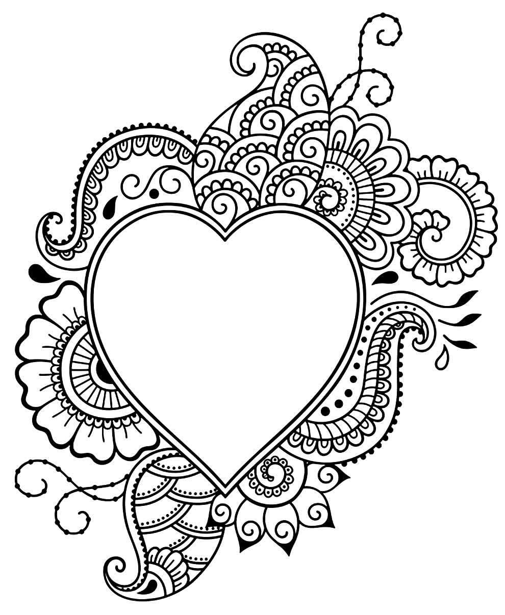 Beautiful heart drawing to paint