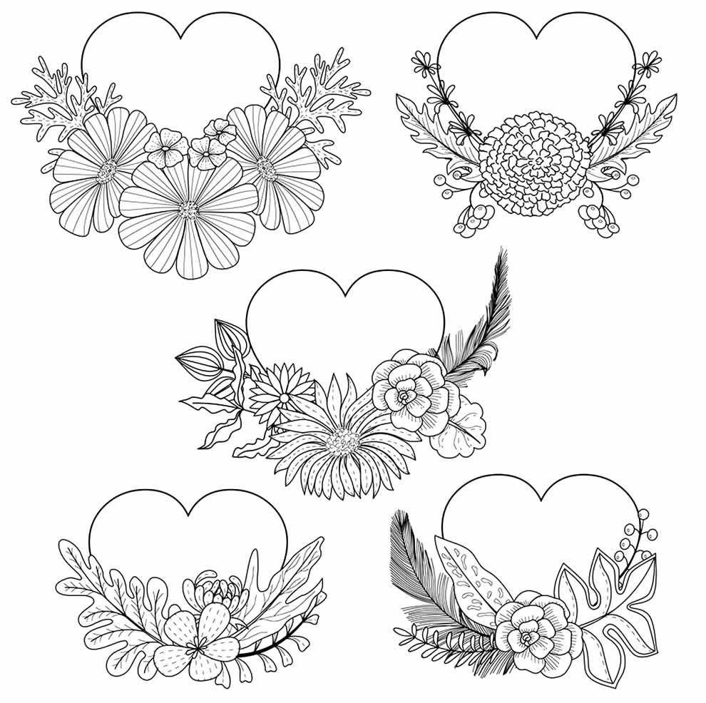 Drawing hearts for coloring