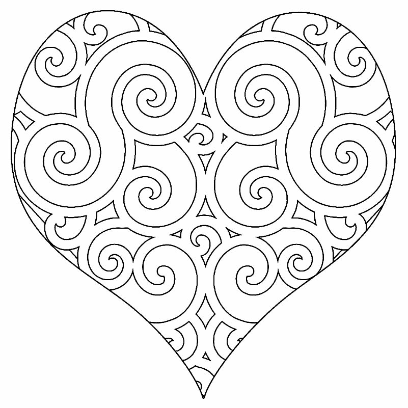 Coloring and painting heart picture