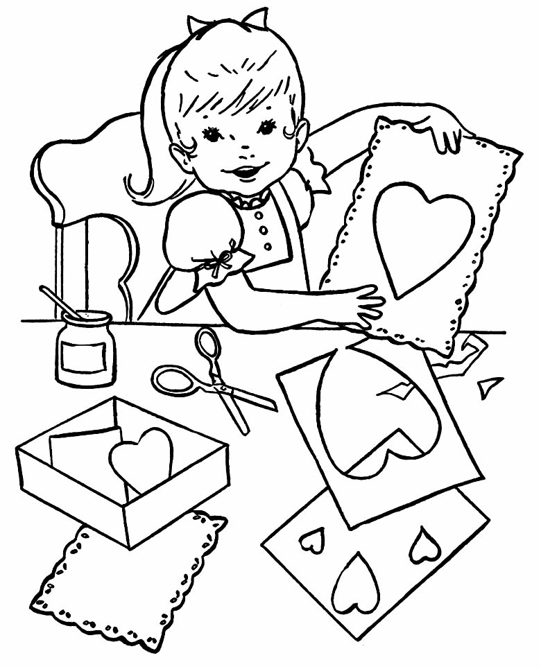 Drawing hearts for coloring and painting