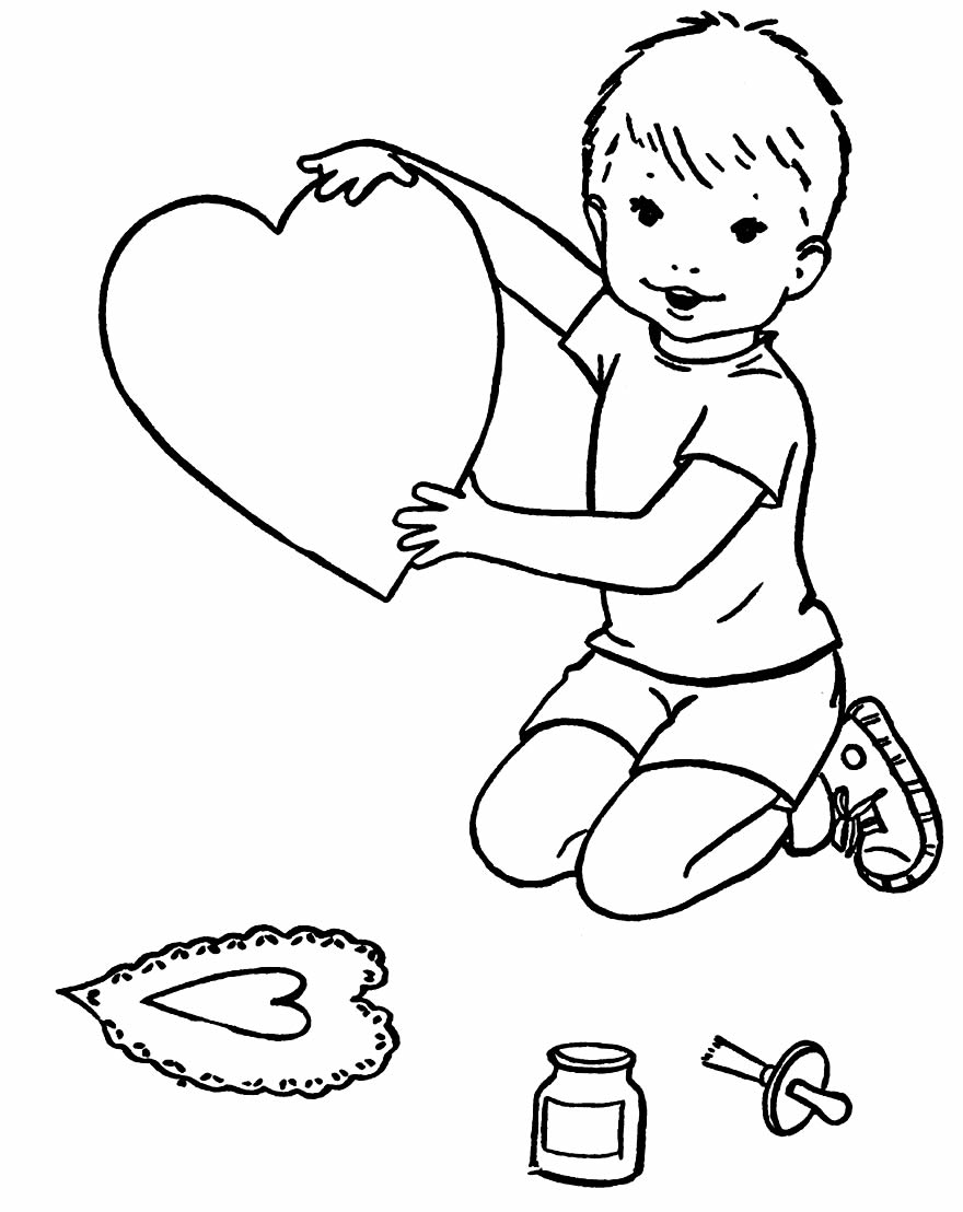 Heart drawing for coloring and painting