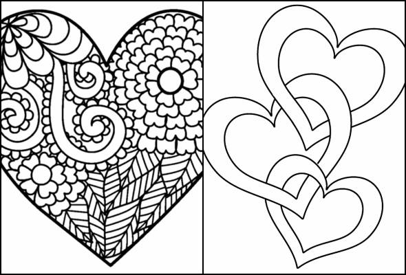 Heart drawings to paint and color