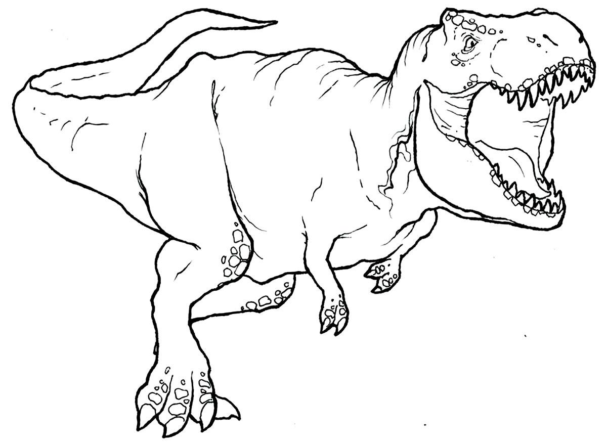 T-Rex dinosaur coloring page