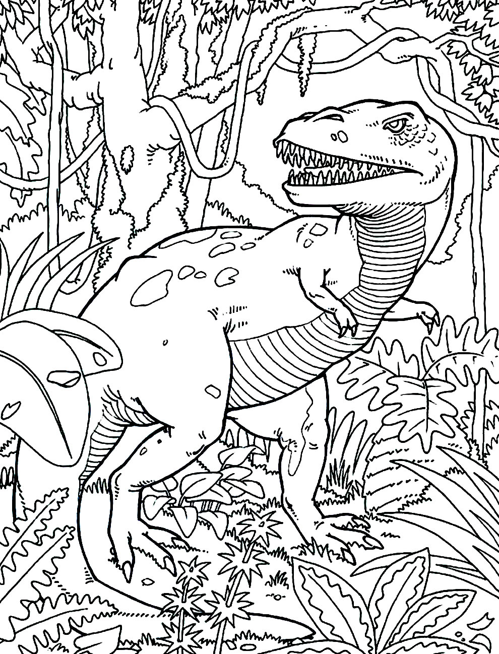 T-Rex drawing for coloring and printing