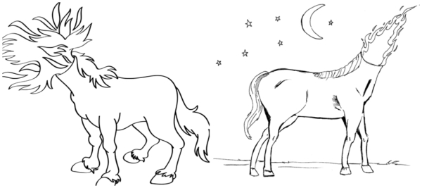drawings of the headless mule to paint