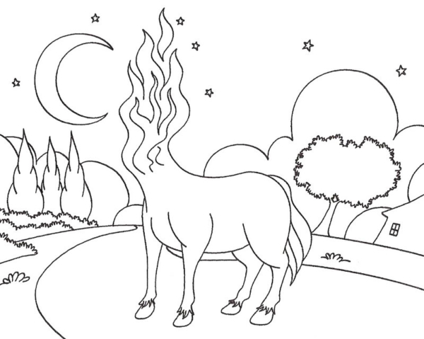 coloring page of the headless mule