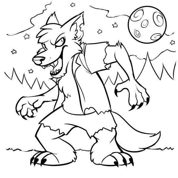 Werewolf drawing to paint