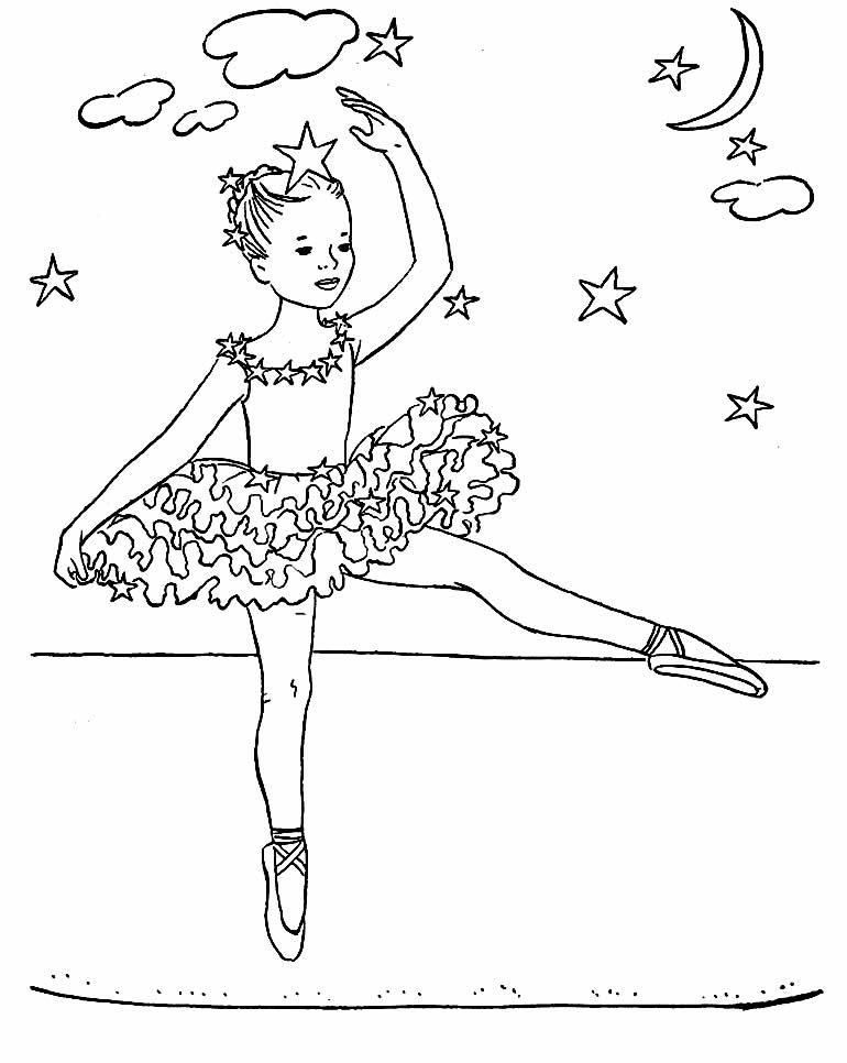 Beautiful Ballerina drawing to paint