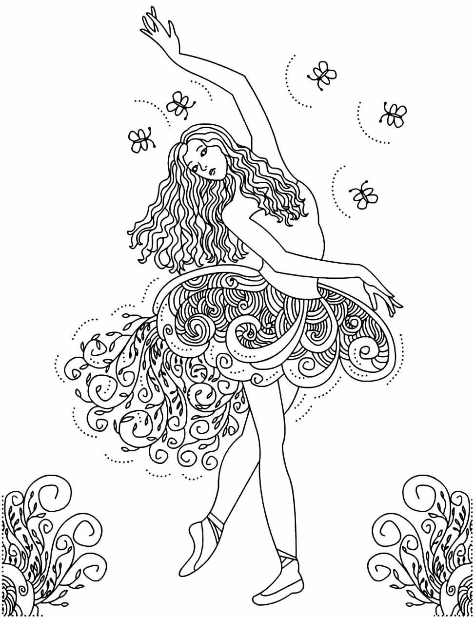 Ballerina drawing for coloring and painting