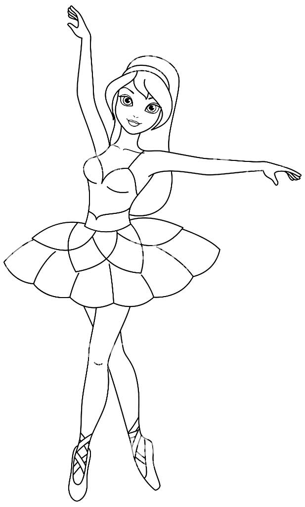 Ballerina drawing for coloring
