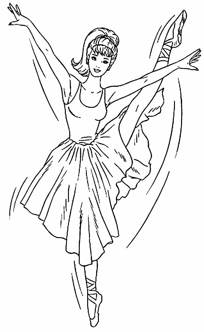 Drawing to paint and color Ballerina - Barbie