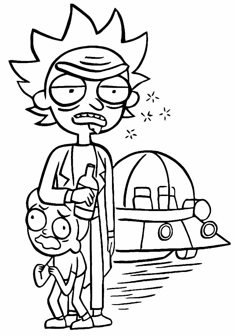Rick and Morty drawing to paint and color