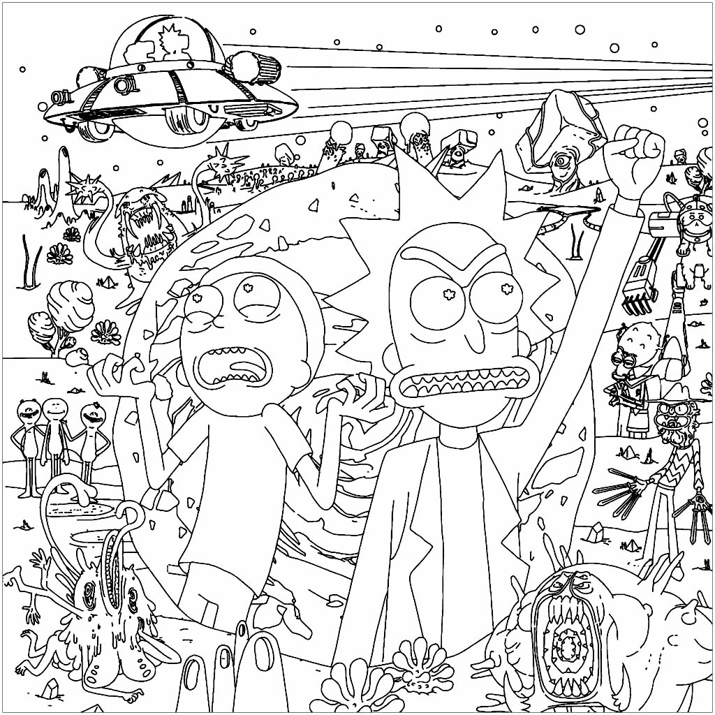 Rick & Morty drawing to paint