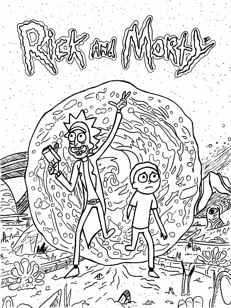 Rick and Morty drawing to paint
