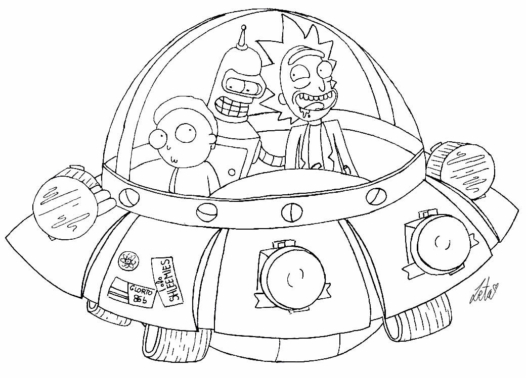 Rick and Morty's Ship drawing to color