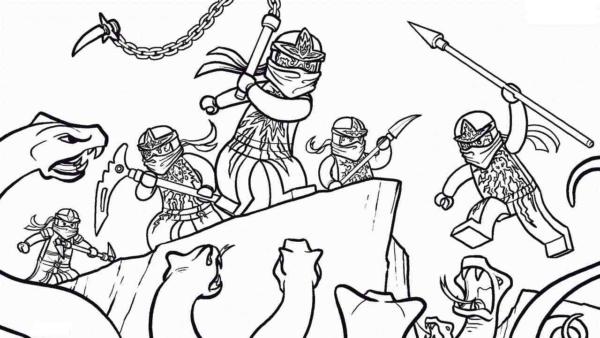 Ninjago battle coloring page
