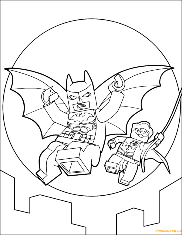 Batman and Robin Lego coloring page