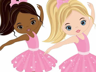 Ballerinas drawing for coloring and painting