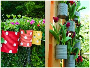 Decoration with Cans for the Garden