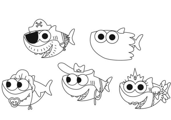 baby shark in costume coloring