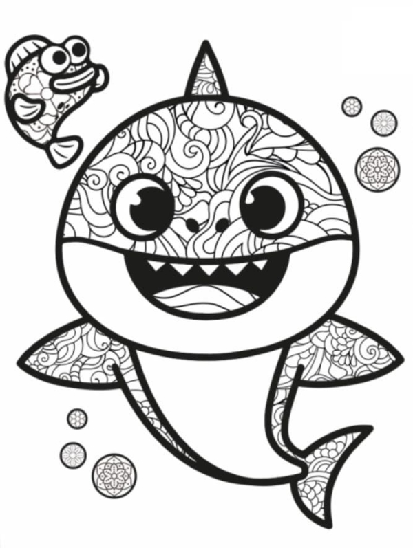 baby shark drawing with details to paint