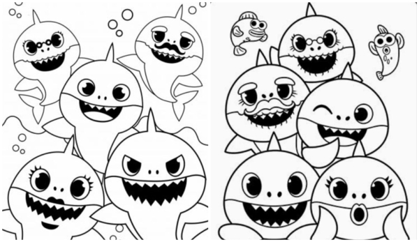 baby shark family drawings to paint
