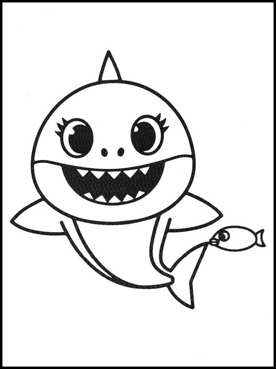 simple drawing of baby shark with fish
