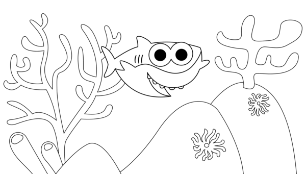 baby shark at the bottom of the sea coloring page