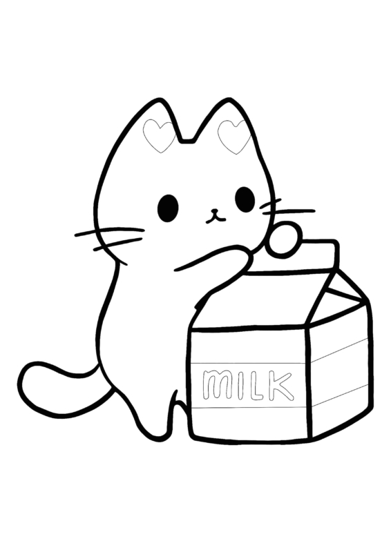 cute coloring pages (kitten with milk)