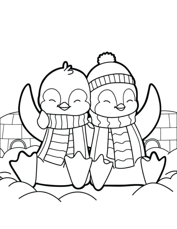 cute penguins to color