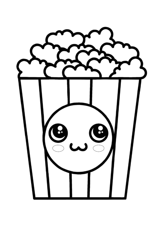 cute popcorn coloring pages