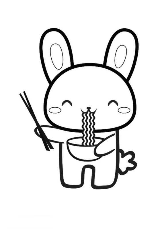 bunny eating ramen