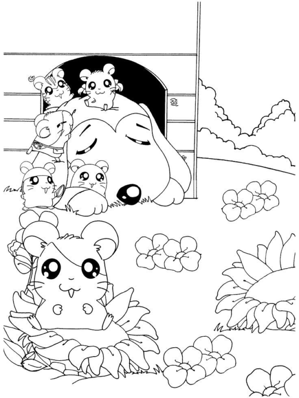 cute coloring pages (Hamtaro class)